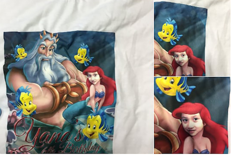 Little Mermaid shirt where Ariel's face is replaced with a young girl's