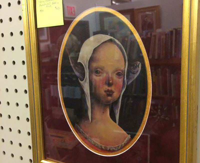painting of a woman with a fish through her head