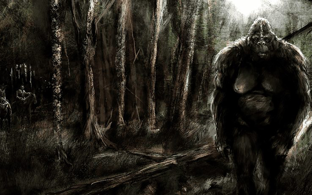 Wildman in dark forest