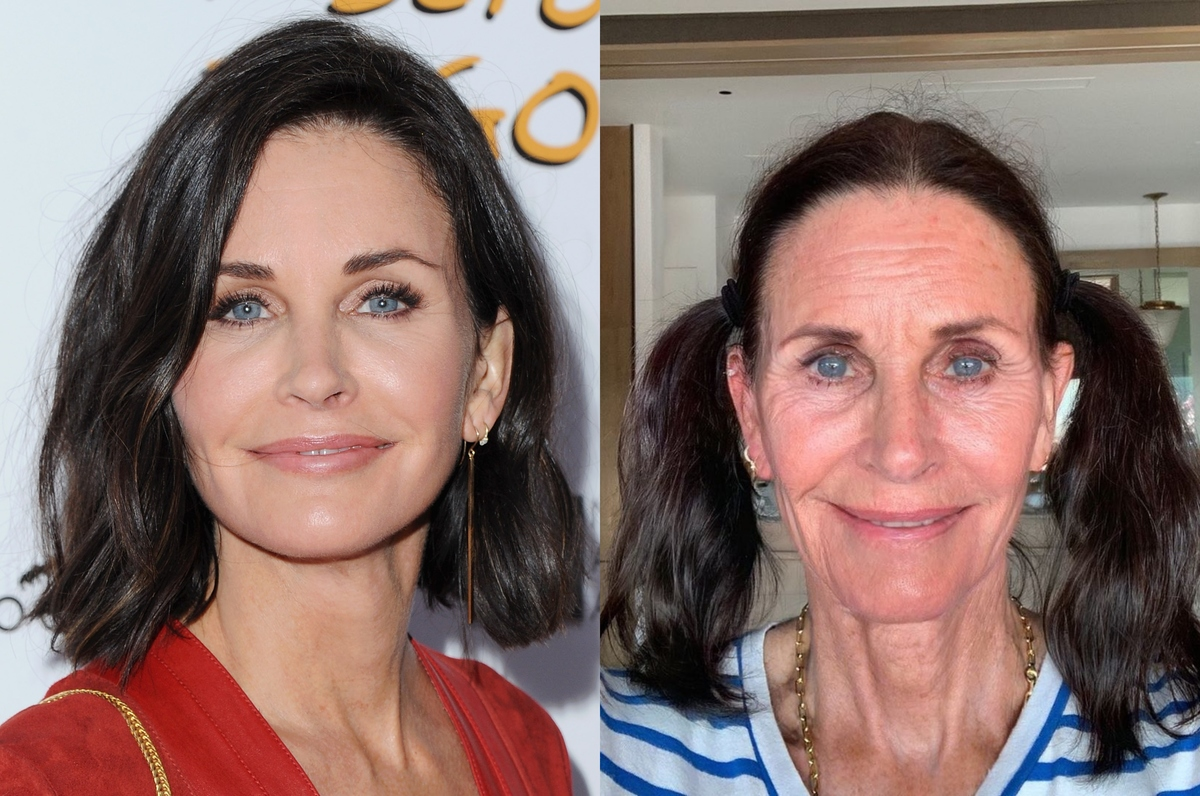 courteney cox with the faceapp aging filter