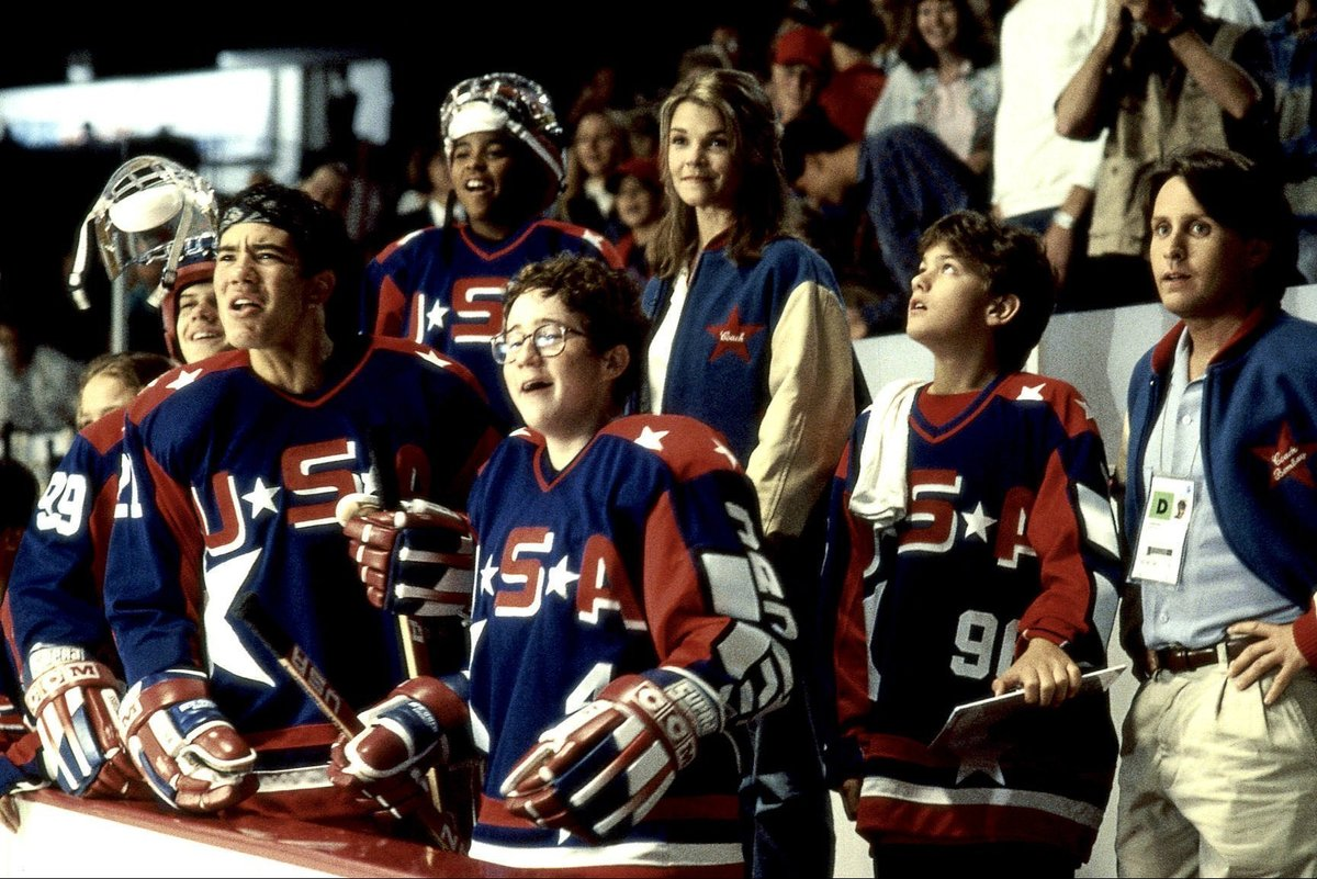 emilio estevez with the cast of the second might ducks movie