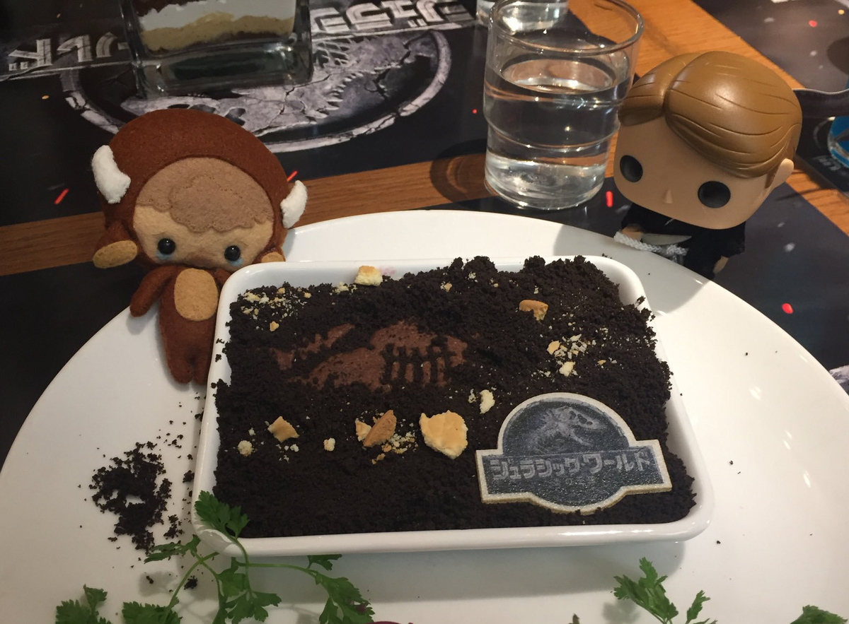 food and figurines at the Jurassic World Cafe in Osaka