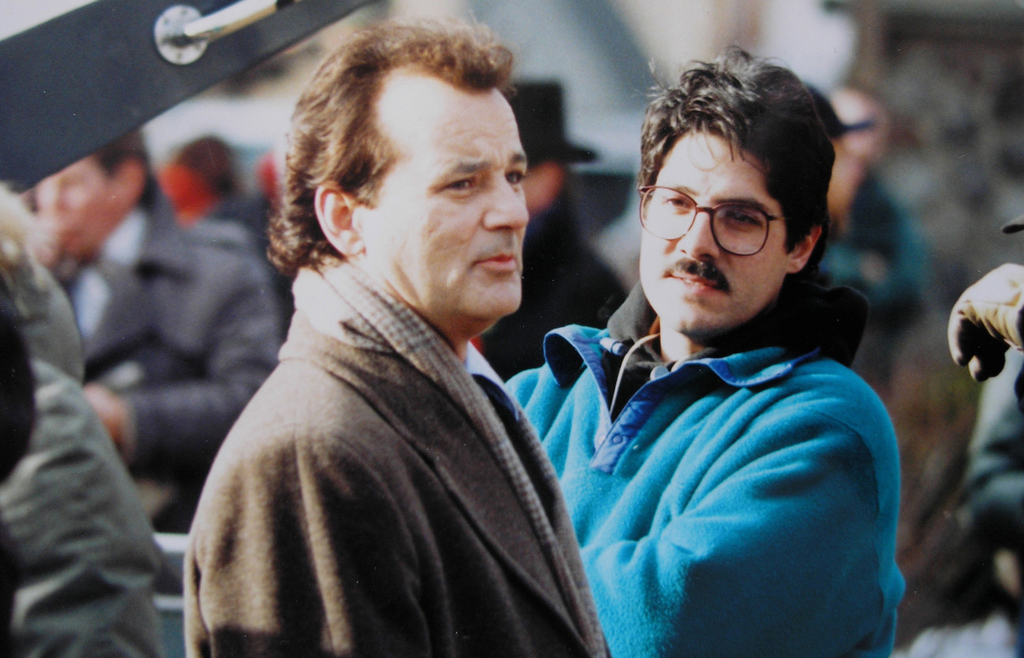Bill Murray and director Harold Ramis behind the scenes of Groundhog Day