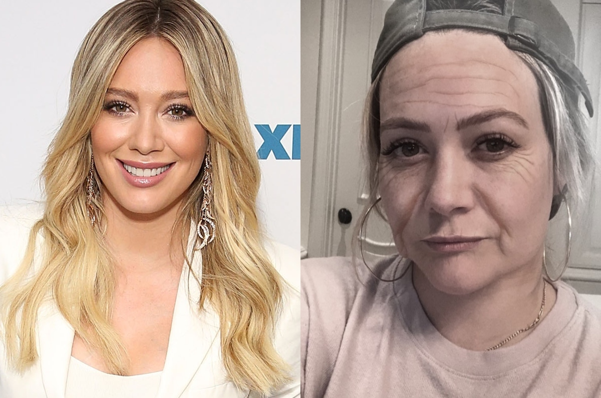 hilary duff with the faceapp aging filter