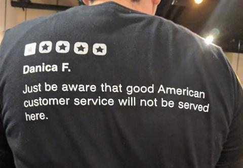man wearing a funny shirt