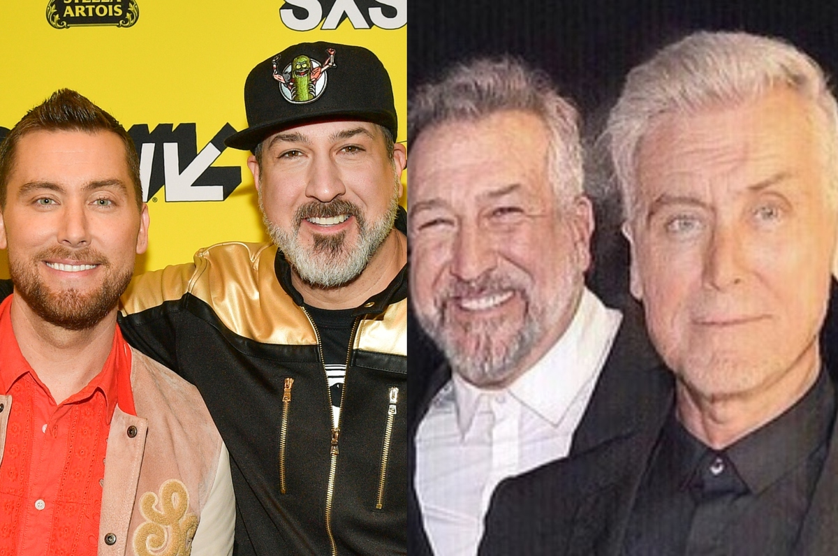 lance bass joey fatone with the faceapp aging filter