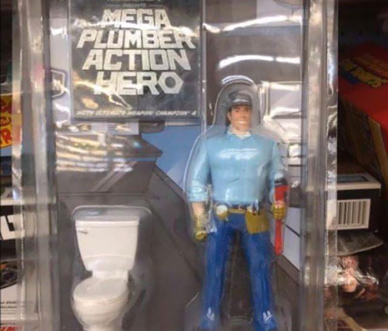 mega plumber superhero action figure in a plastic package