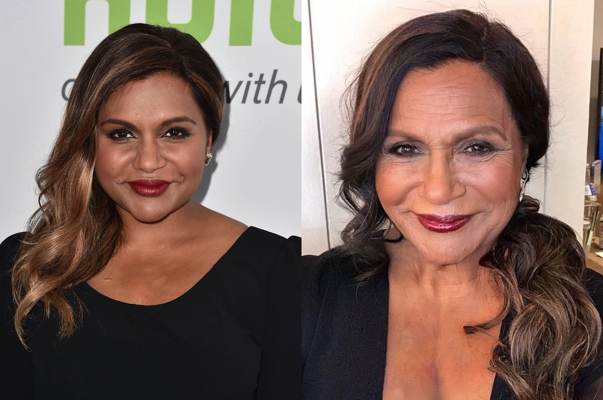 mindy kaling with the faceapp aging filter