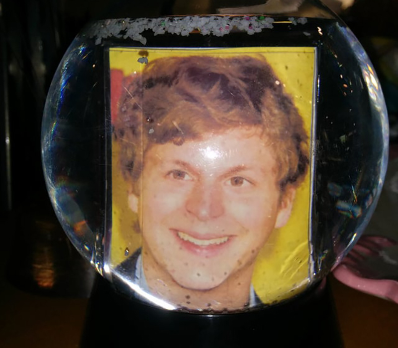 photo of Michael Cera in a snow globe