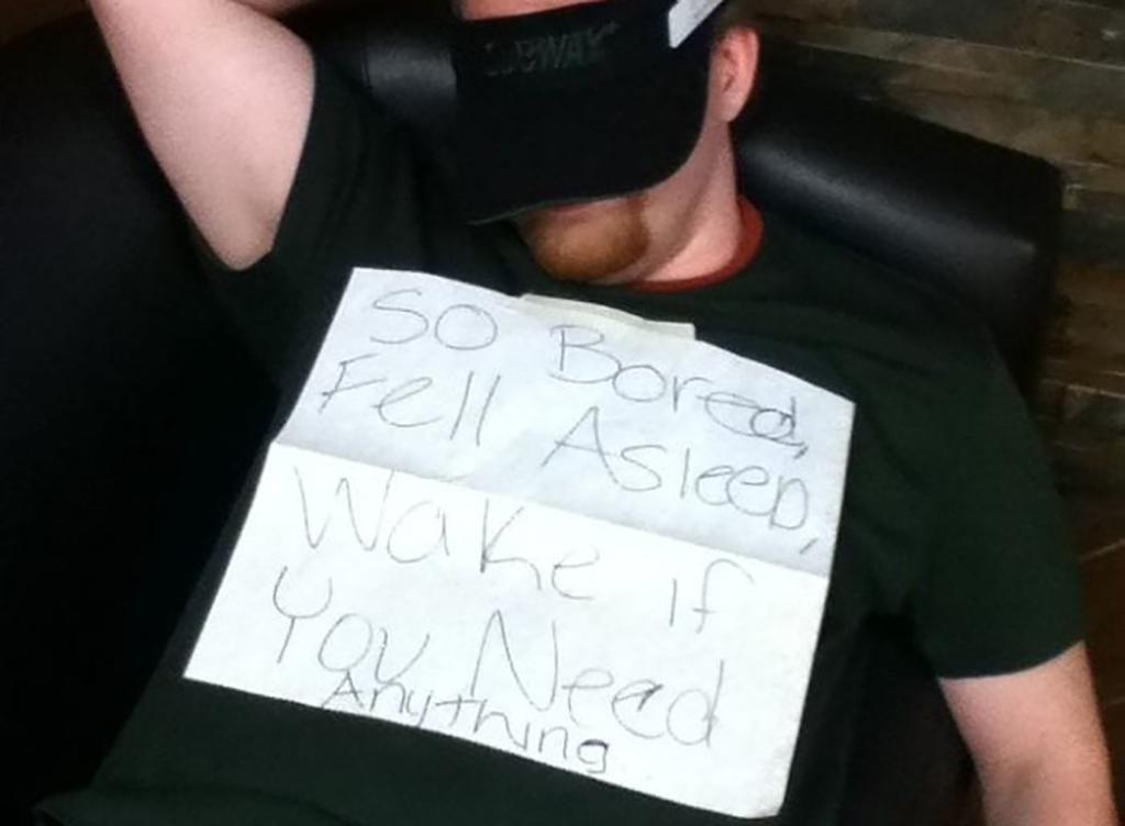 Guy sleeping with mask