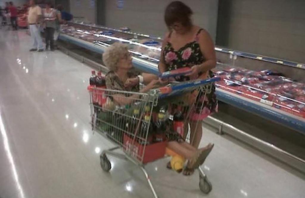 Old women in cart