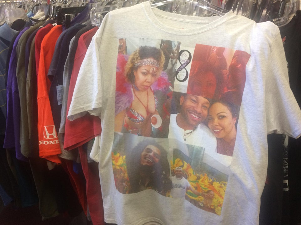 thrift store shirt displaying a collage of a couple