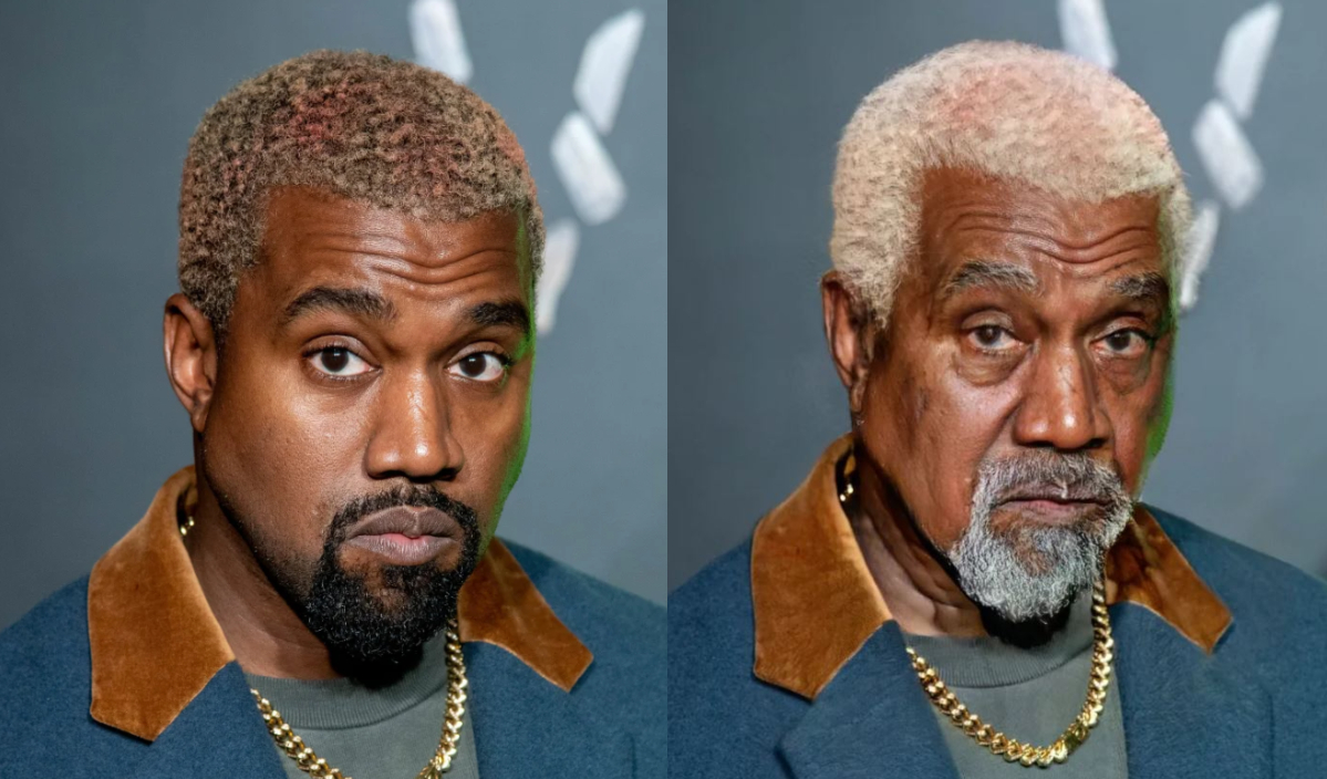 kanye west with the aging filter