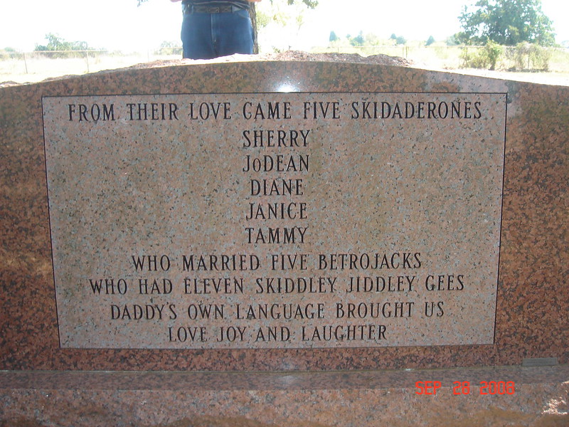 A headstone uses strange language to depict the character of the deceased
