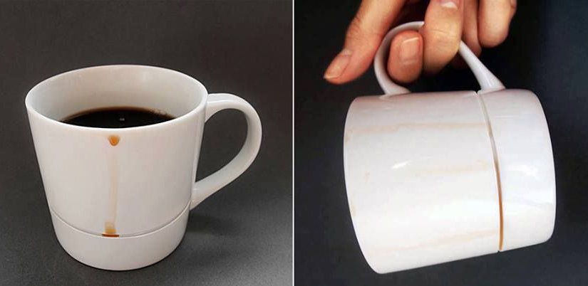 Drop Rest mug is designed to catch coffee drips before they reach the table