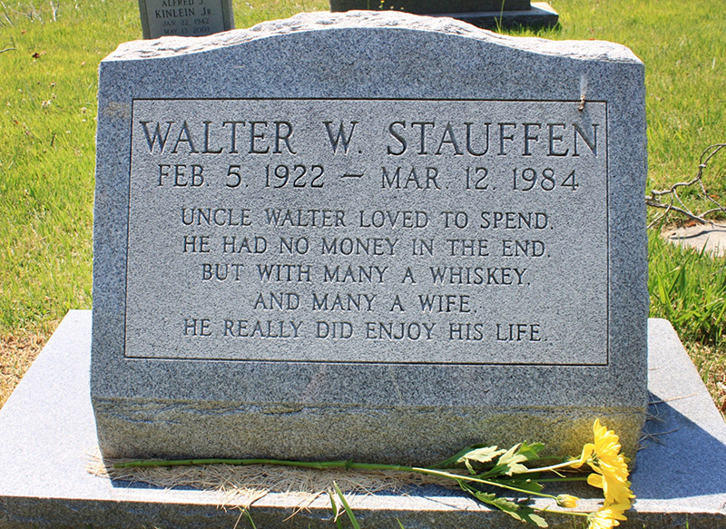 A jingle about a poor drunk is on a headstone