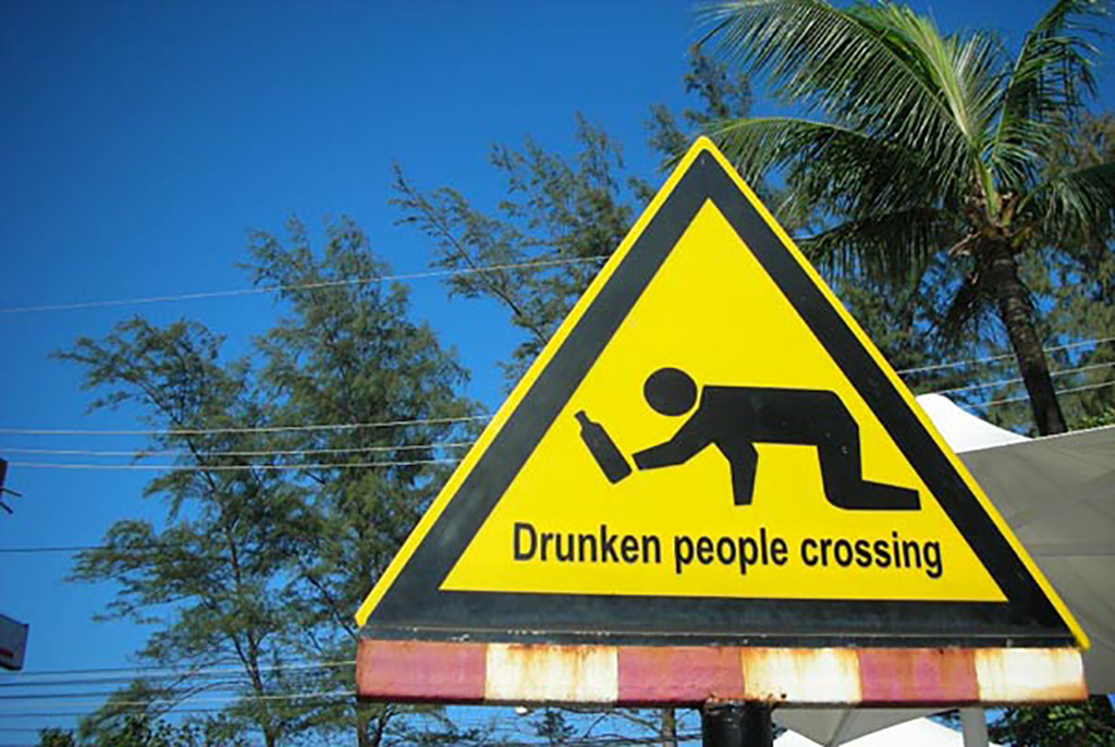 Drunken crossing sign