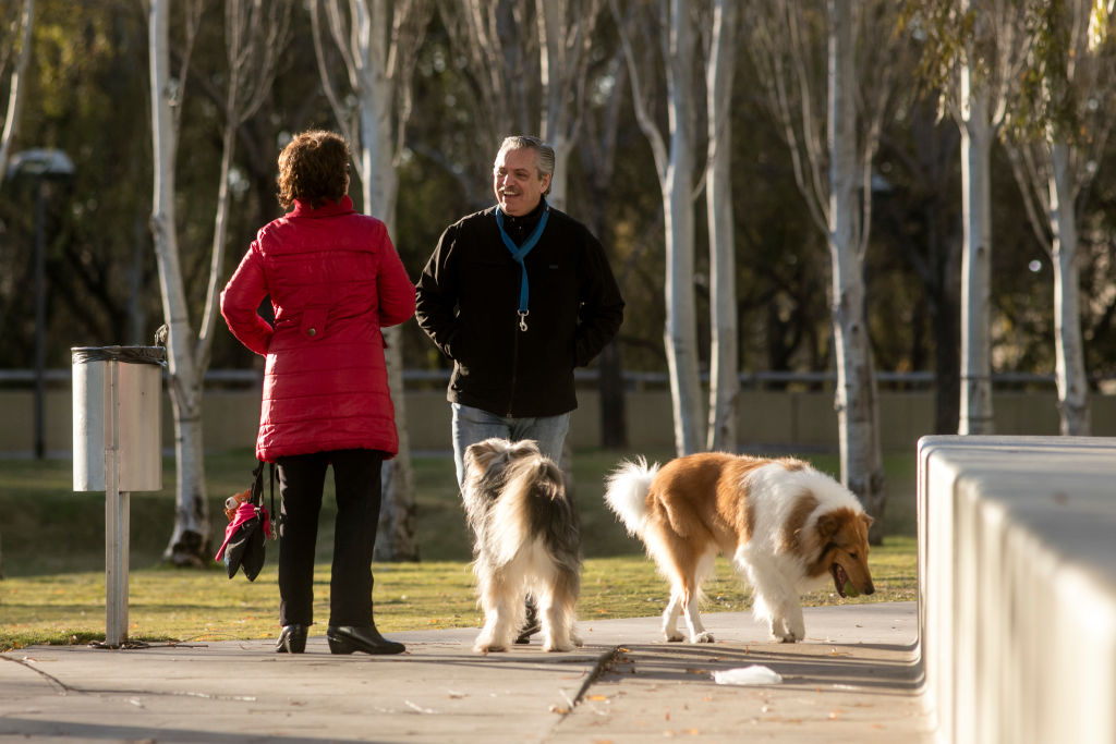 A man and woman converse while walking their dogs