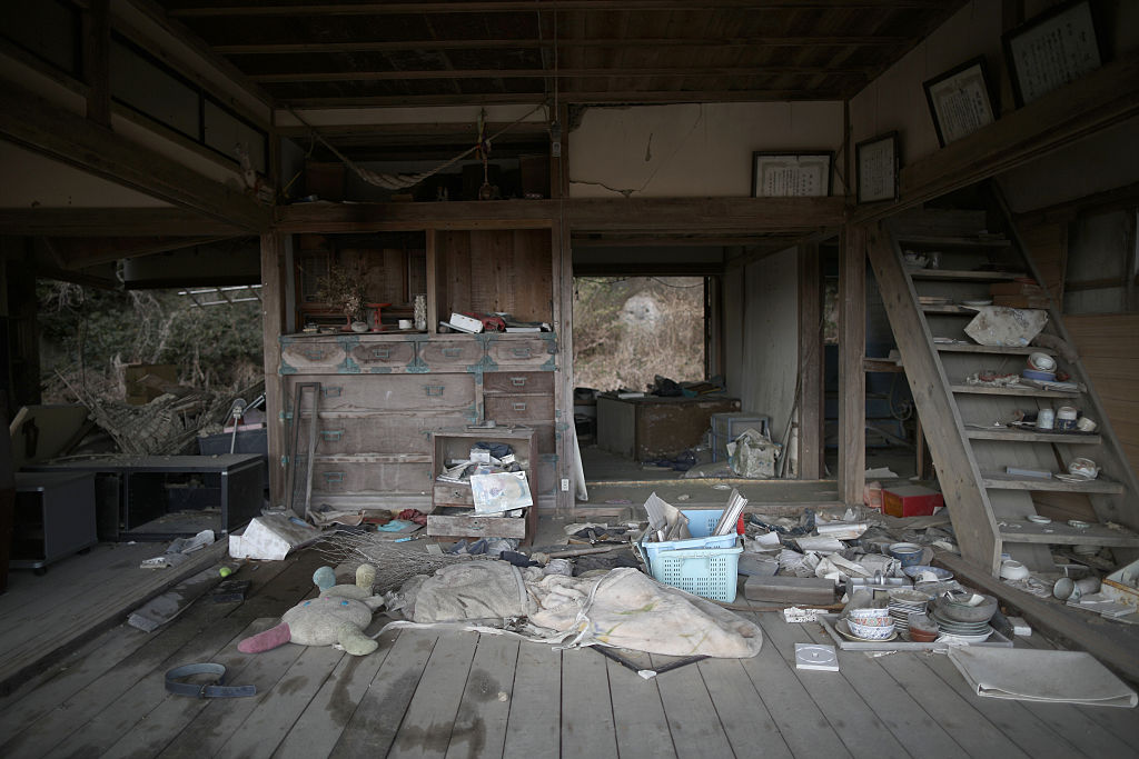 Destroyed interior of house