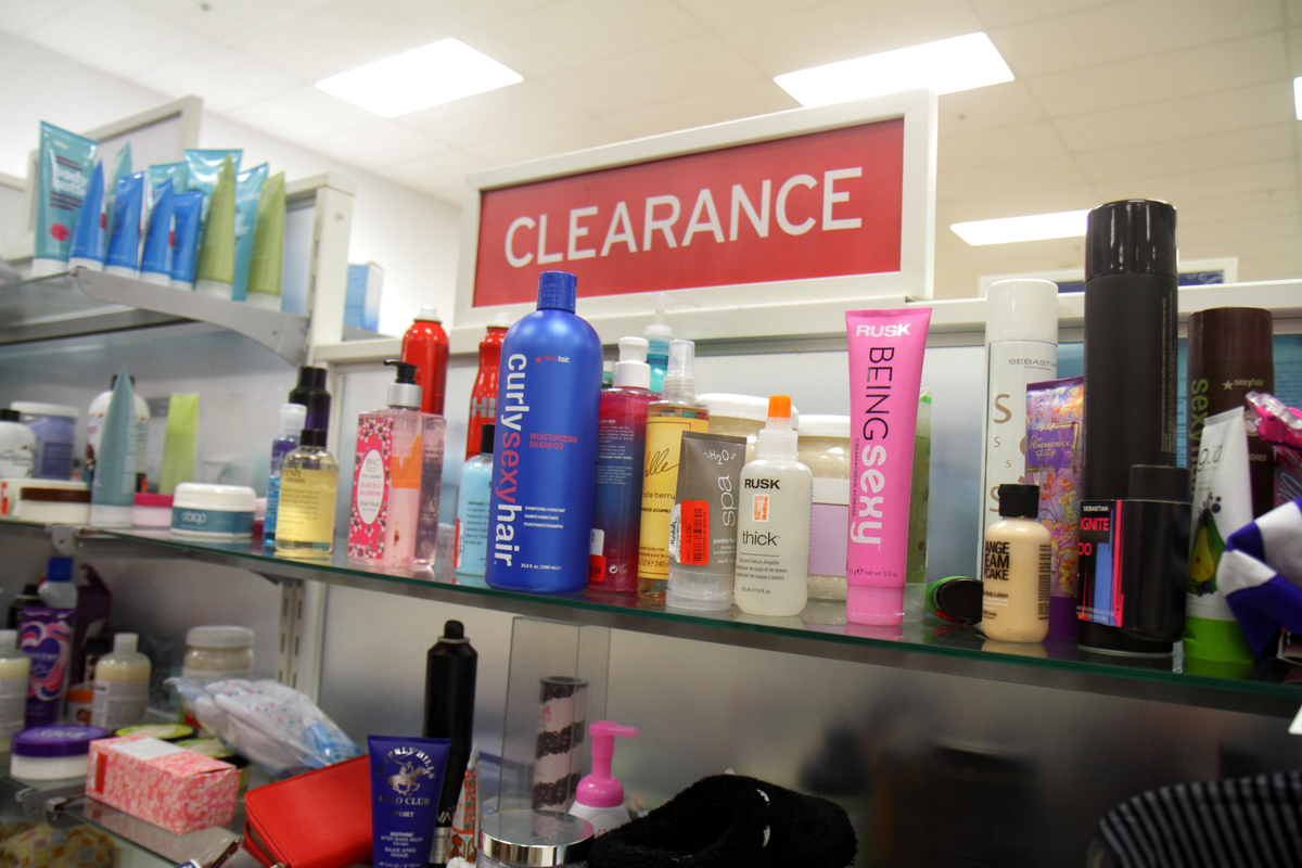 Clearance display in Marshalls discount department store.