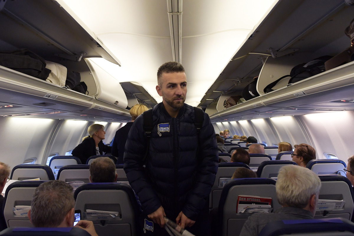 Vedad Ibisevic of Hertha BSC boarding a plane in Berlin, Germany