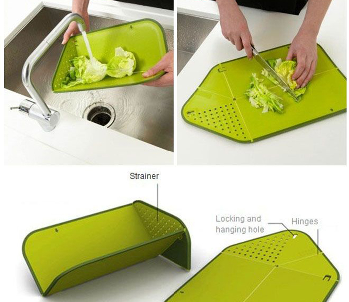 Diagram exploring Joseph Joseph's Rinse & Chop cutting board