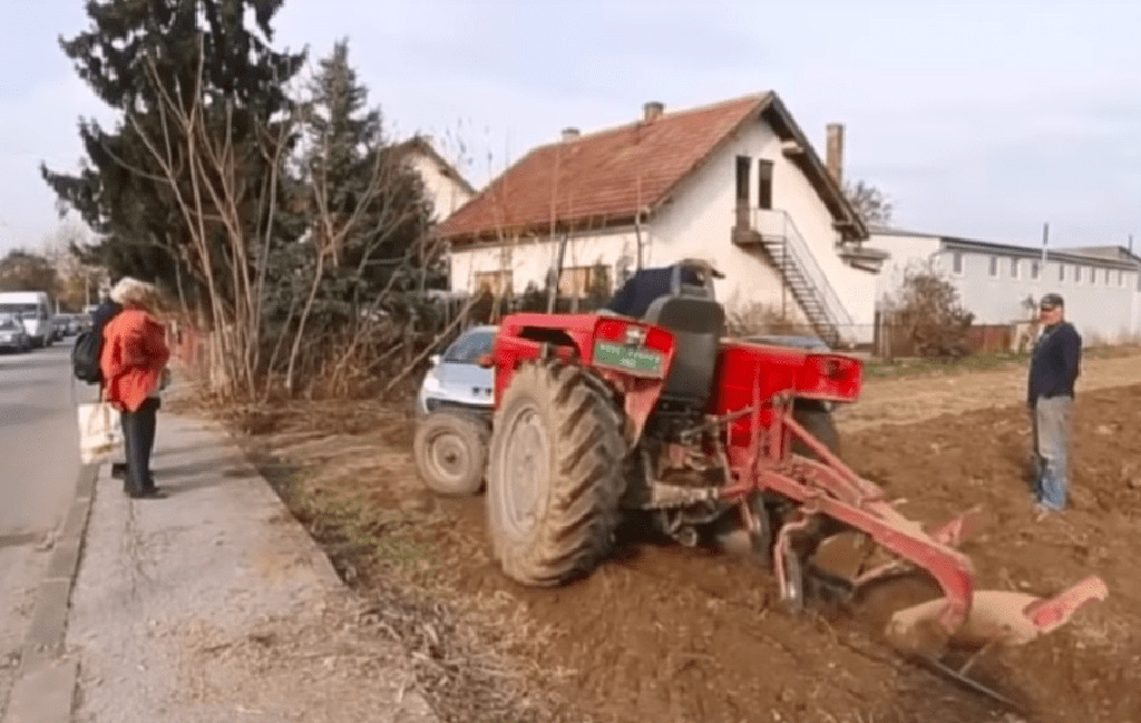 Red tractor on land