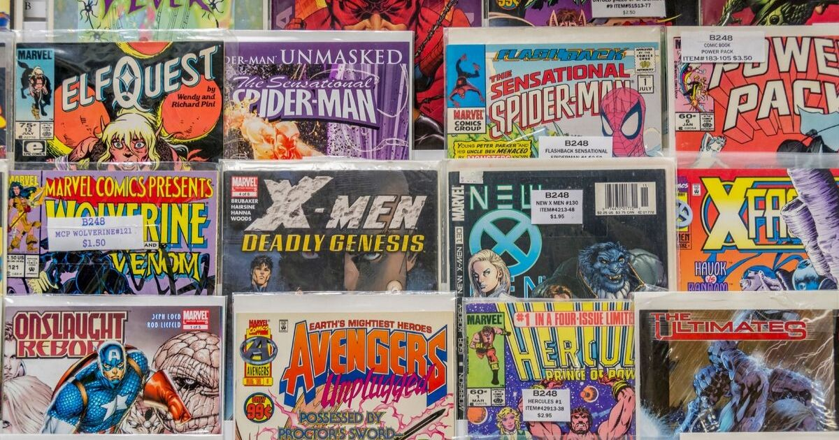 A rack of comic books for sale