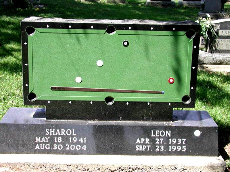 A pool table headstone