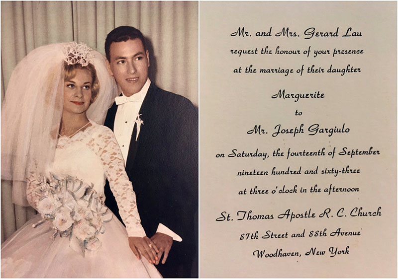 The wedding invitation is shown beside a photograph of the newlyweds