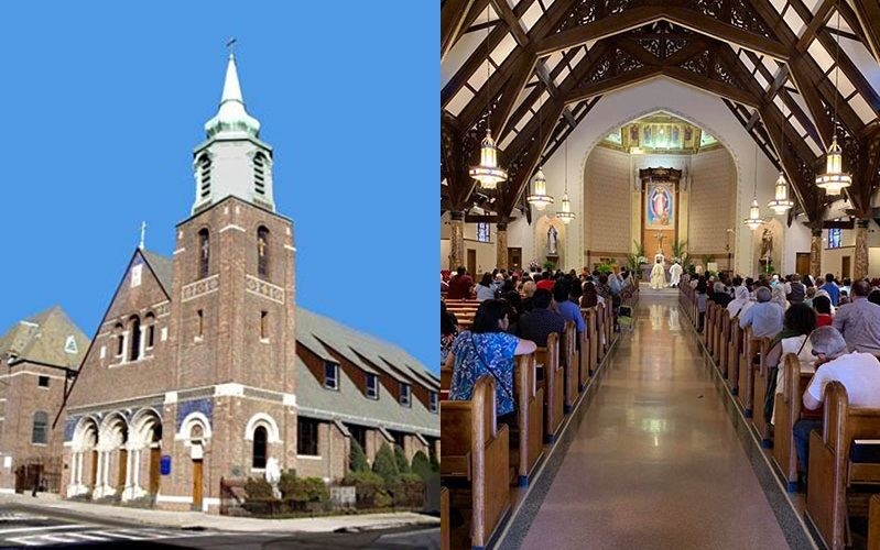 Side by side photos show the exterior and interior of the church that Marguerite and Joseph were married in