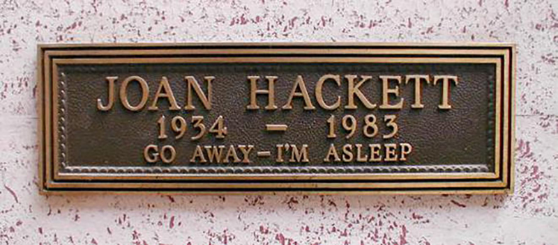 "A headstone reads ""go away I'm asleep"""