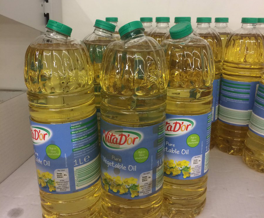Damaged bottles of Solemn vegetable oil