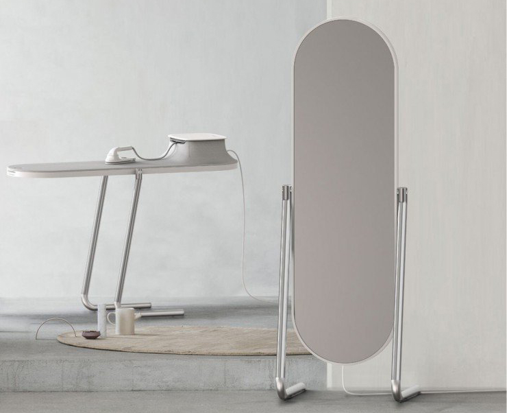A mirror that flips into an ironing board