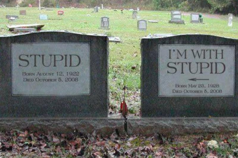 "A headstone reads ""stupid"" next to another headstone that reads ""I'm with stupid"""