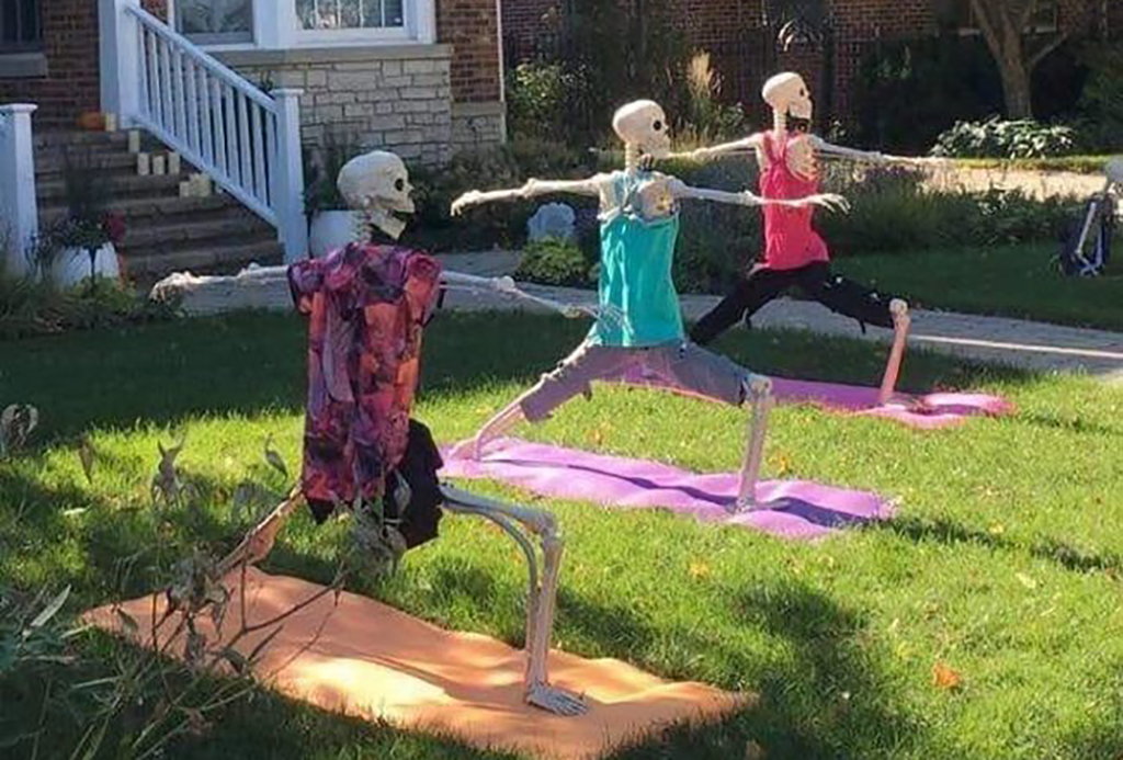 Skeletons doing yoga