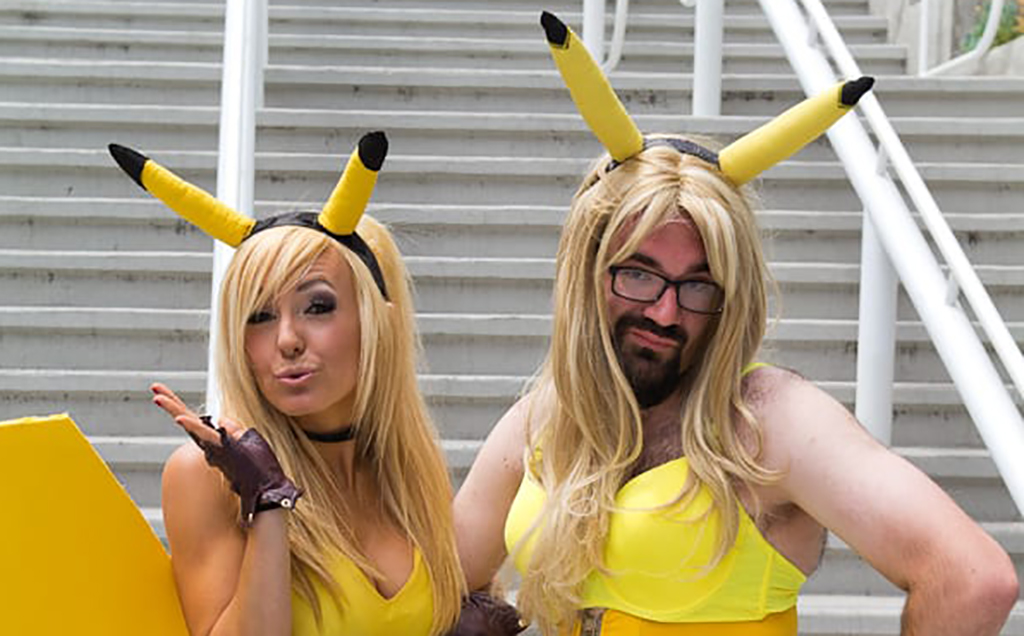 Girl and guy dressed as Pikachu