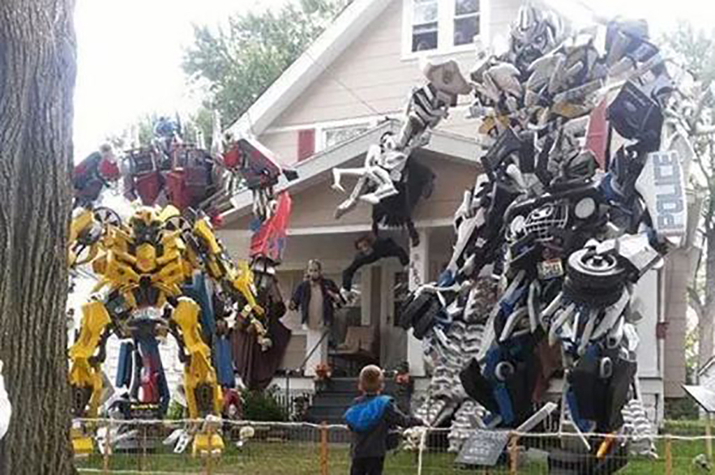 Transformers on the front lawn