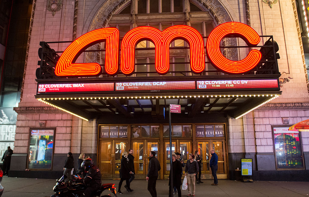 Outside of an AMC theater in New York