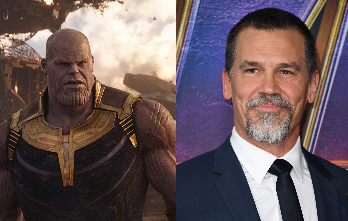 Actor Josh Brolin on the right and his CGI character Thanos on the left.