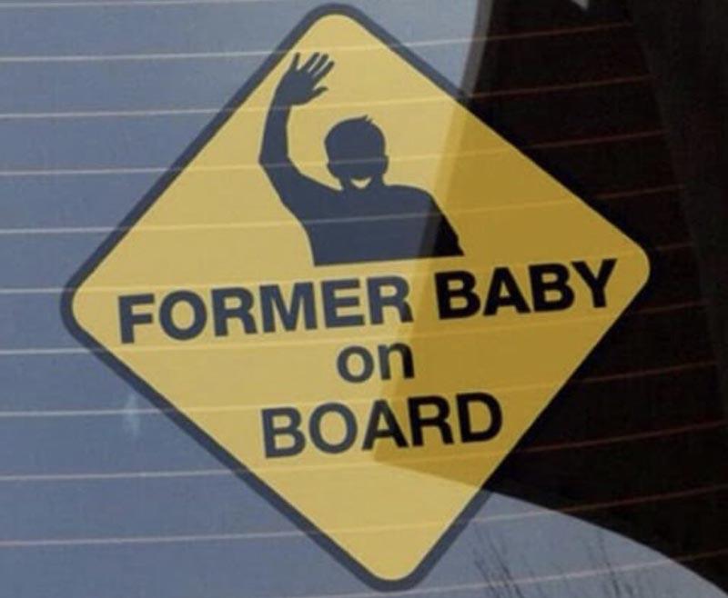 A bumper sticker reads