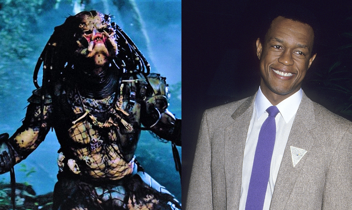 Actor Kevin Peter Hall on the right, and him in the Predator costume on the left.