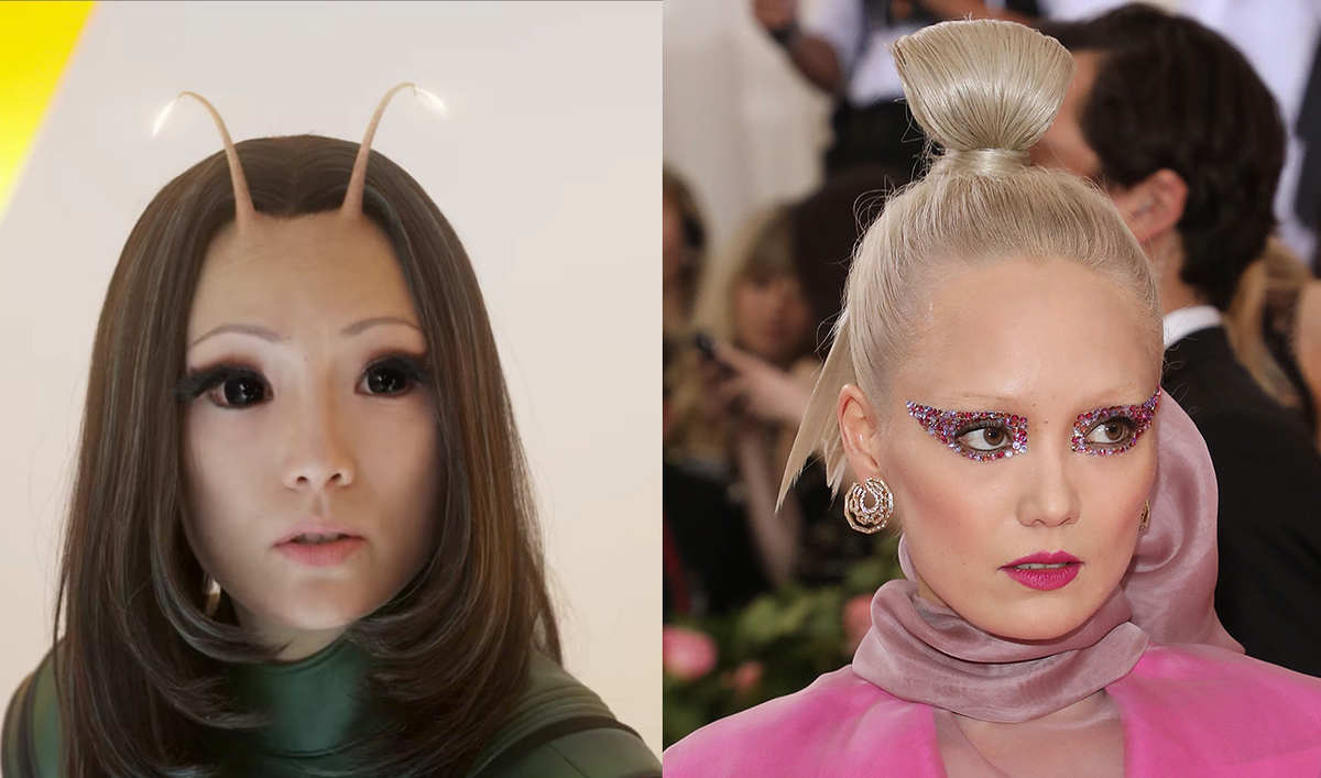 Actress Pom Klementieff at the Met Gala on the right, and her character Mantis from Guardians of the Galaxy on the left.