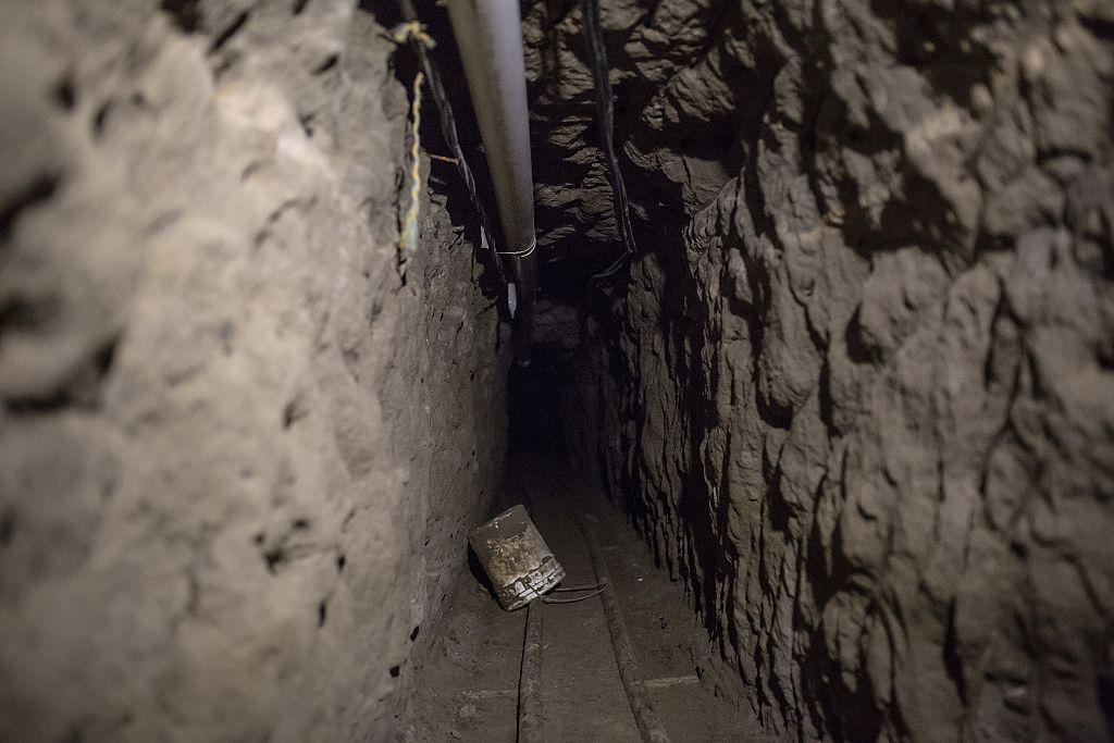 Inside view of the tunnel inside the house where used by Joaquin 'El Chapo' Guzman to escape