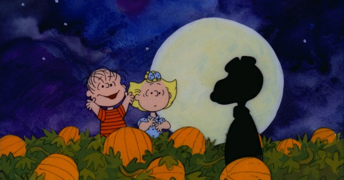 Linus and Sally from It's a Great Pumpkin, Charlie Brown in a field of pumpkins