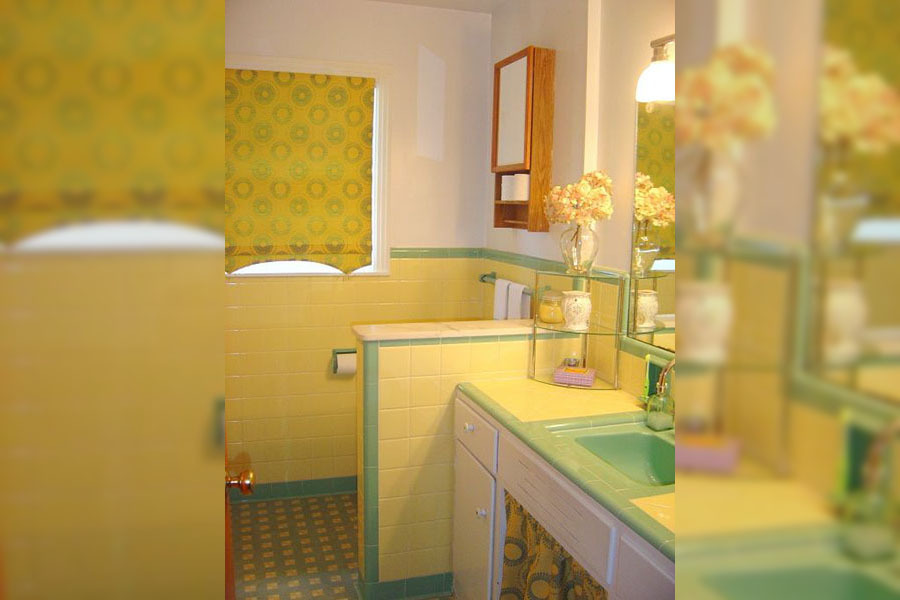 green and yellow bathroom countertop