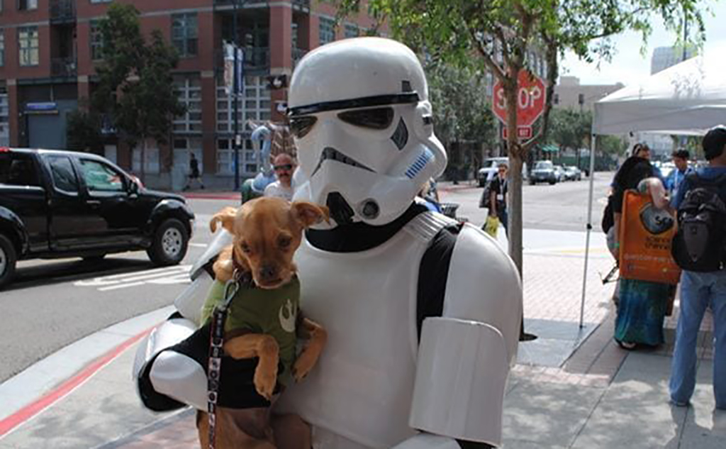 Stormtrooper and dog