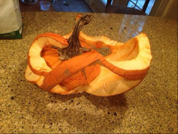 Pumpkin that collapsed after too much carving