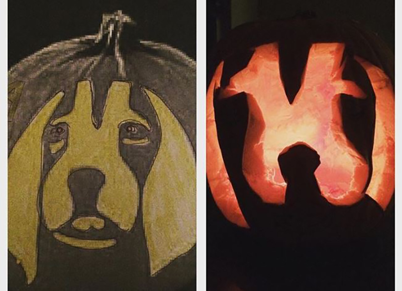 The goal pumpkin carving is on the left; the recreation is on the right.