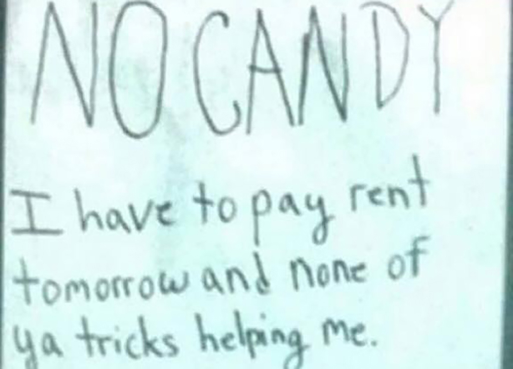 Paying rent sign